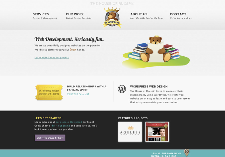A great web design by The House of Ruxspin, Los Angeles, CA: