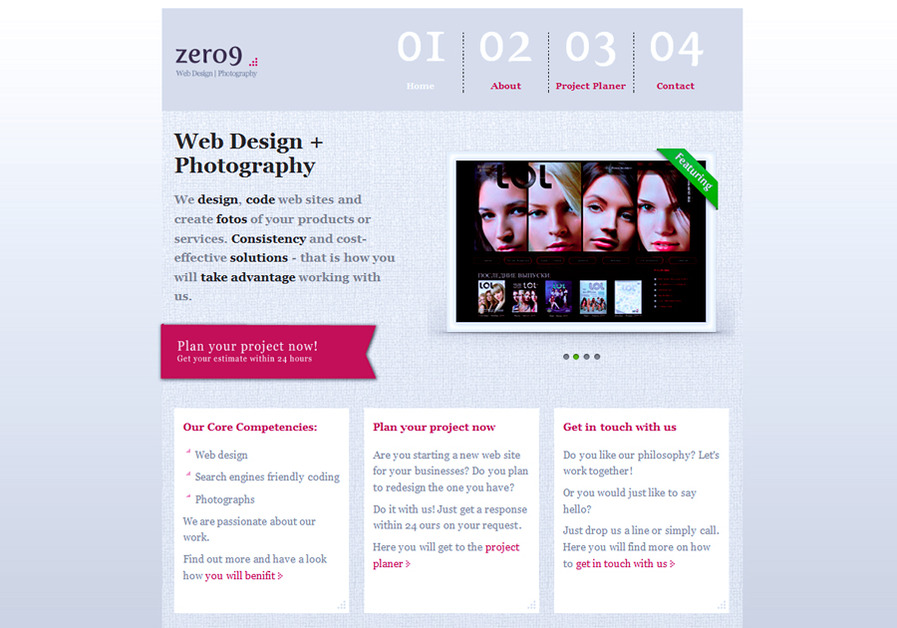 A great web design by zero9, Munich, Germany: