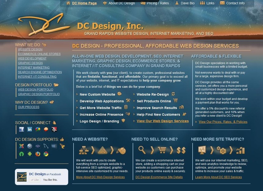 A great web design by DC Design, Inc., Grand Rapids, MI: