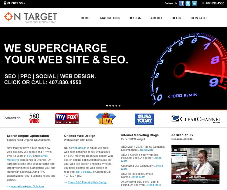 A great web design by On Target Web Solutions, Inc., Orlando, FL: