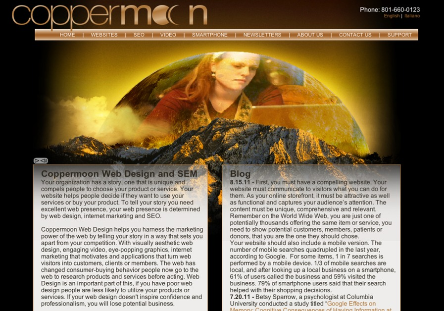A great web design by Coppermoon Web Design, Salt Lake City, UT: