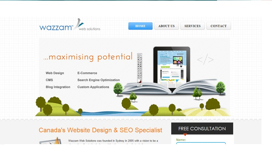 A great web design by Wazzam Web Solutions, Toronto, Canada: