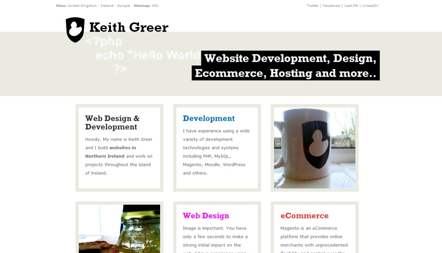 A great web design by Keith Greer, Belfast, United Kingdom: