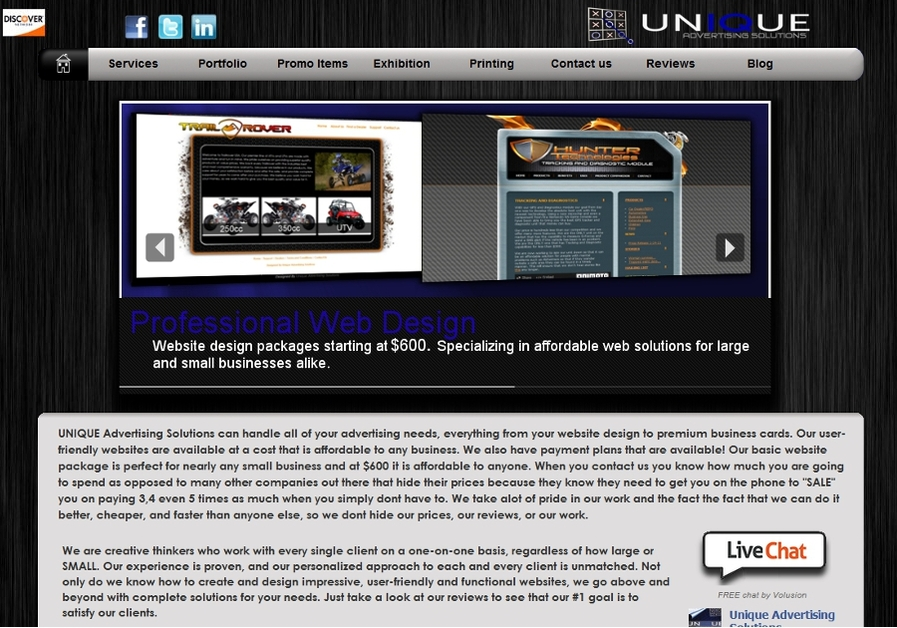 A great web design by Unique Advertising Solutions, Charlotte, NC: