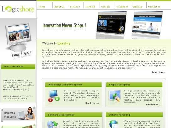 A great web design by Logicshore Services, Bangalore, India: