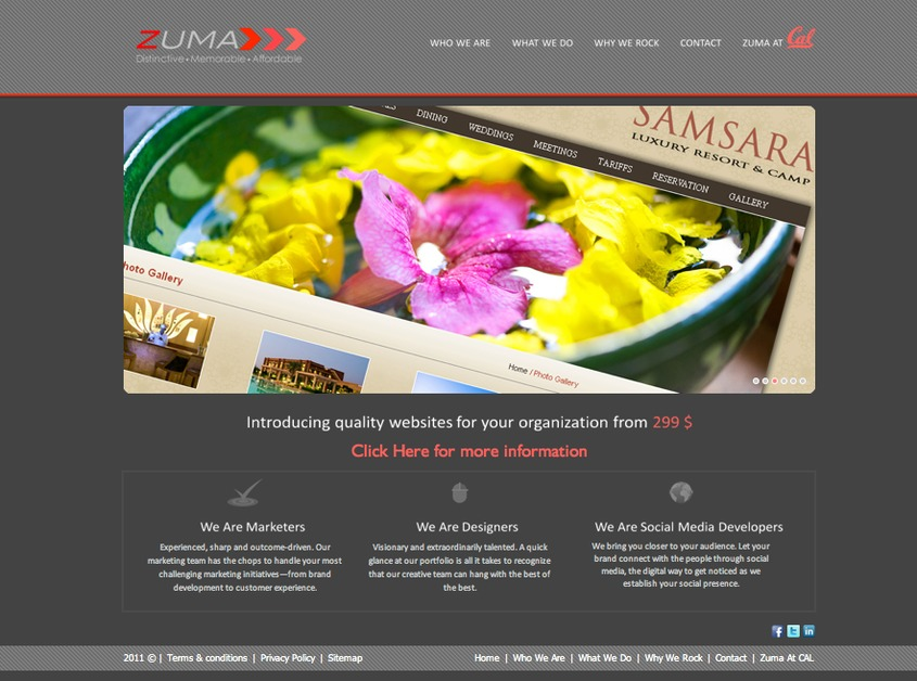 A great web design by Zuma Designs - only $ 299, San Francisco, CA: