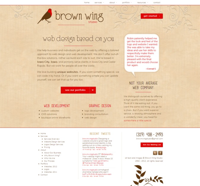 A great web design by Brown Wing Studio, Iowa City, IA: