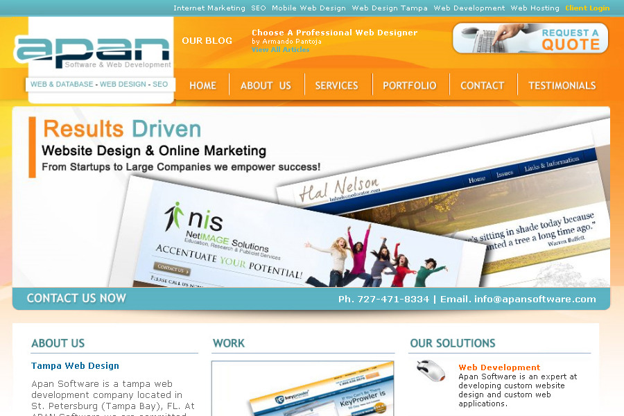 A great web design by Apan Web Development, Tampa, FL: