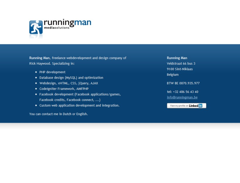 A great web design by Running Man, Sint Niklaas, Belgium: