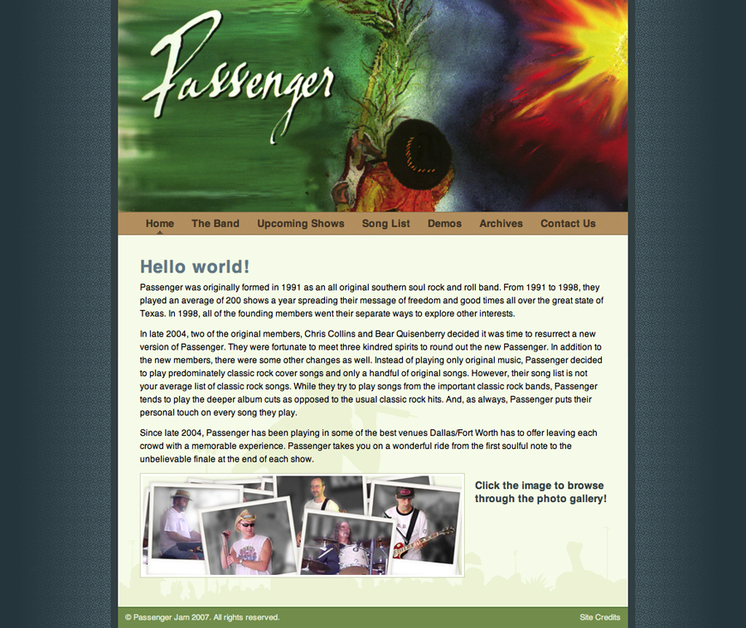 A great web design by Shawn R. Grimes, Pensacola, FL: