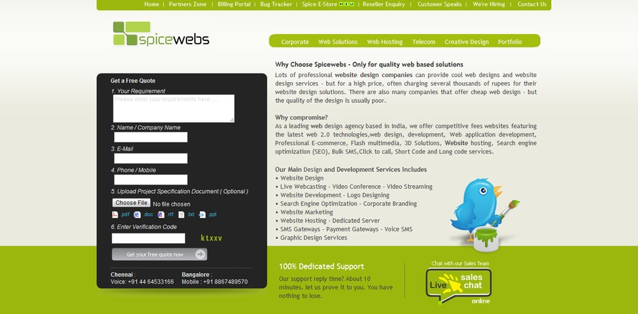 A great web design by spice web services , Chennai, India: