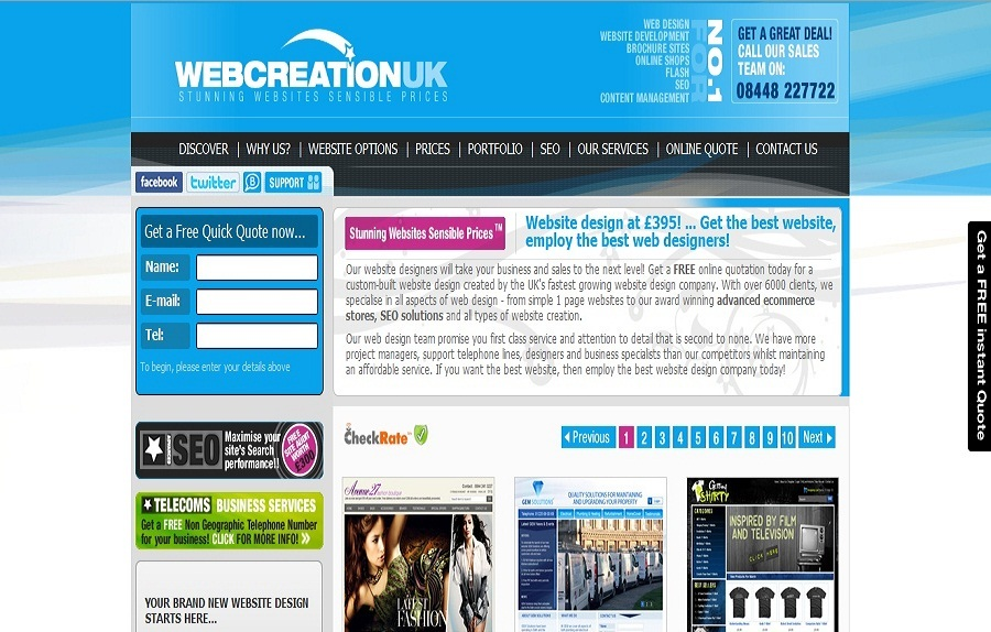 A great web design by WebCreationUK, Trowbridge, United Kingdom: