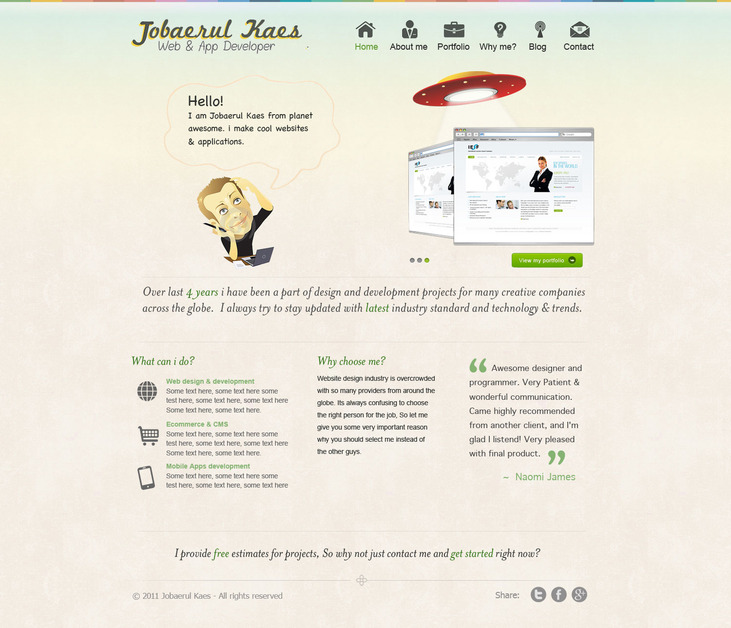 A great web design by Jobaerul kaes, Dhaka, Bangladesh: