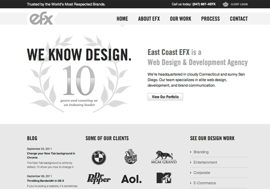 A great web design by East Coast EFX, Los Angeles, CA: