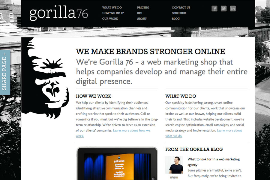 A great web design by Gorilla 76, St Louis, MO: