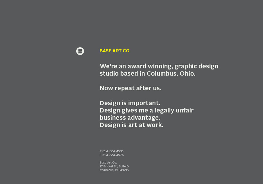 A great web design by Base Art Co., Columbus, OH: