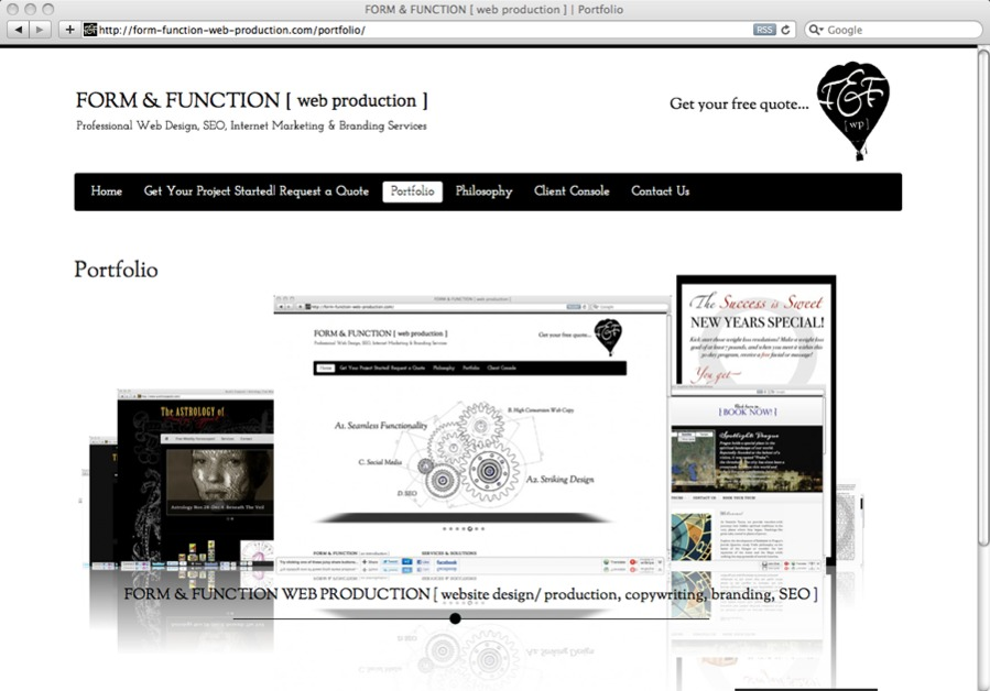 A great web design by FORM & FUNCTION [ web production ], San Francisco, CA: