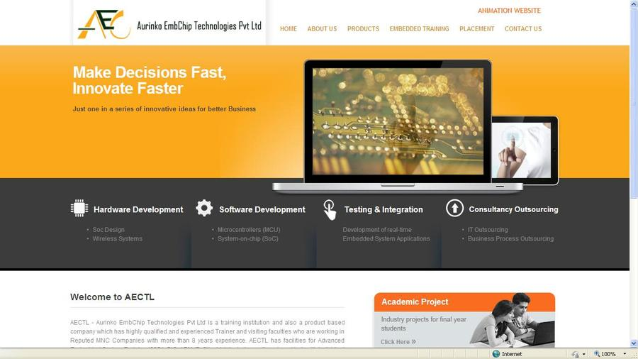 A great web design by AECTL - Aurinko EmbChip Technologies Pvt Ltd, Bangalore, India: