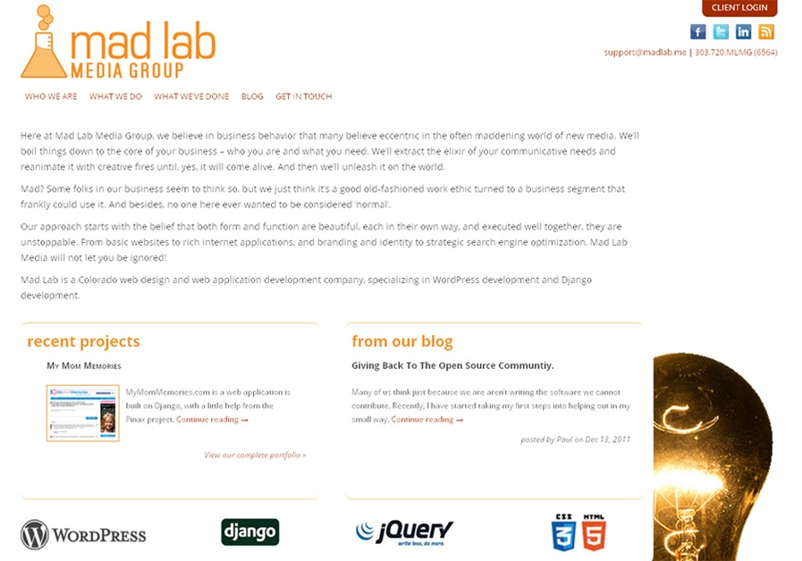 A great web design by Mad Lab Media Group, Denver, CO: