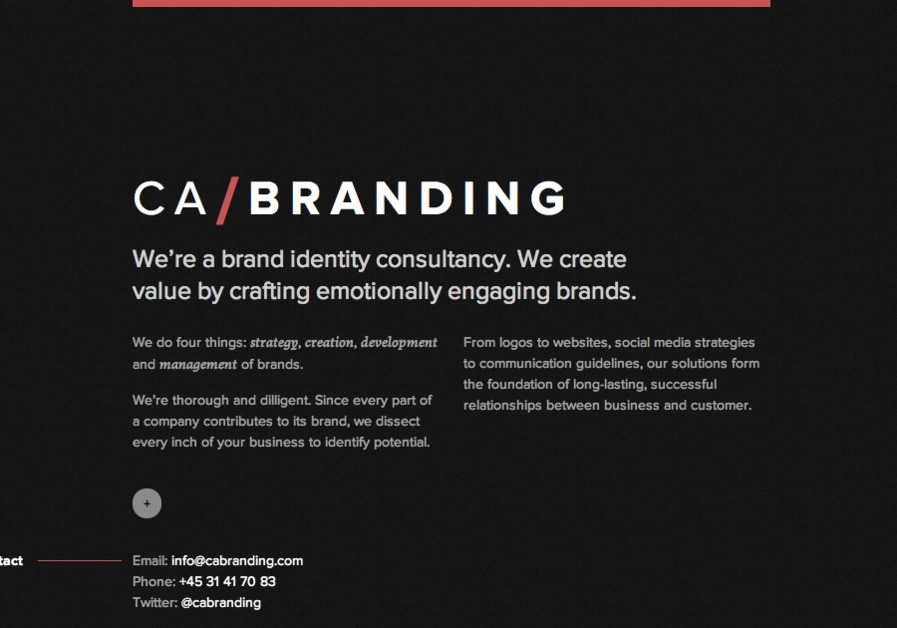 A great web design by CA/Branding, Stockholm, Sweden: