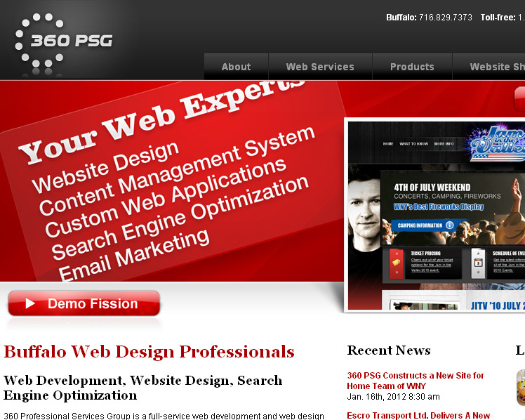 A great web design by 360 PSG, Buffalo, NY:
