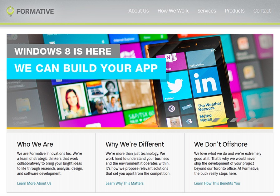A great web design by Formative Innovations Inc., Toronto, Canada: