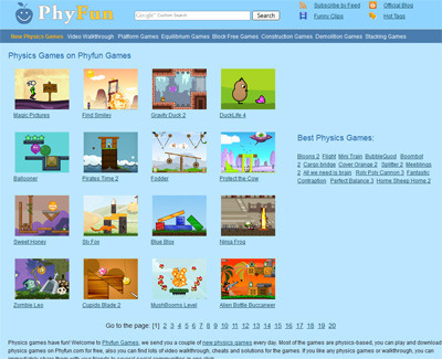 A great web design by Phyfun Games, Washington DC, DC: