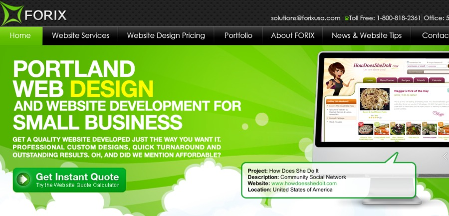A great web design by Forix LLC, Portland, OR: