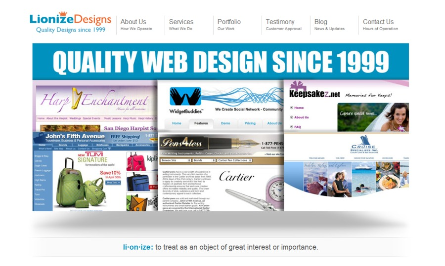 A great web design by Lionize Designs, San Diego, CA: