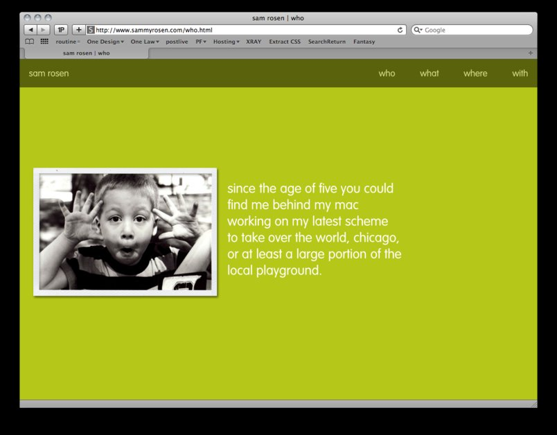 A great web design by Sammy Rosen, Chicago, IL: