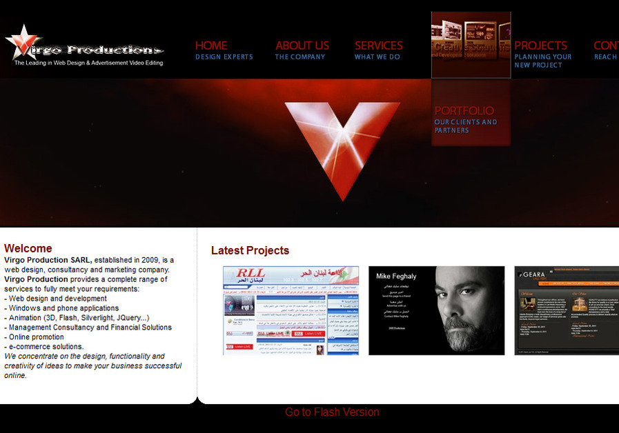 A great web design by Virgo Production SARL, Los Angeles, CA: