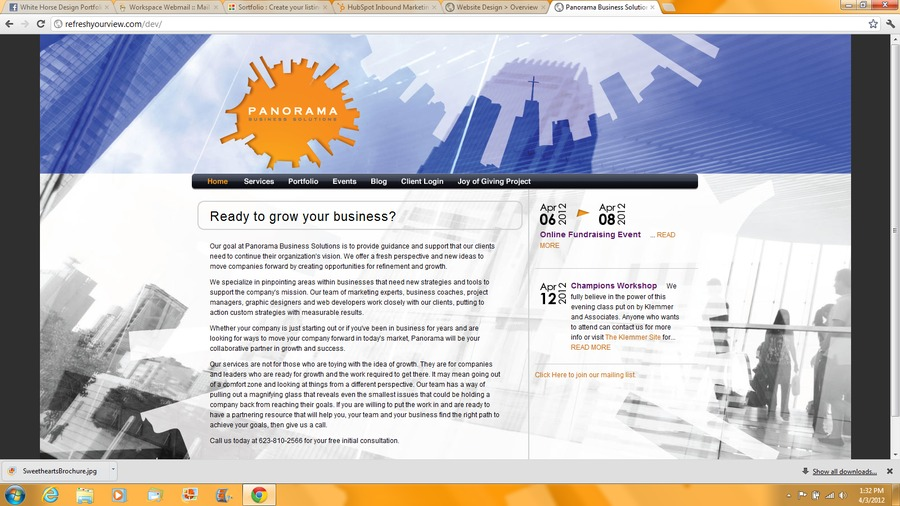 A great web design by Panorama Business Solutions, Phoenix, AZ: