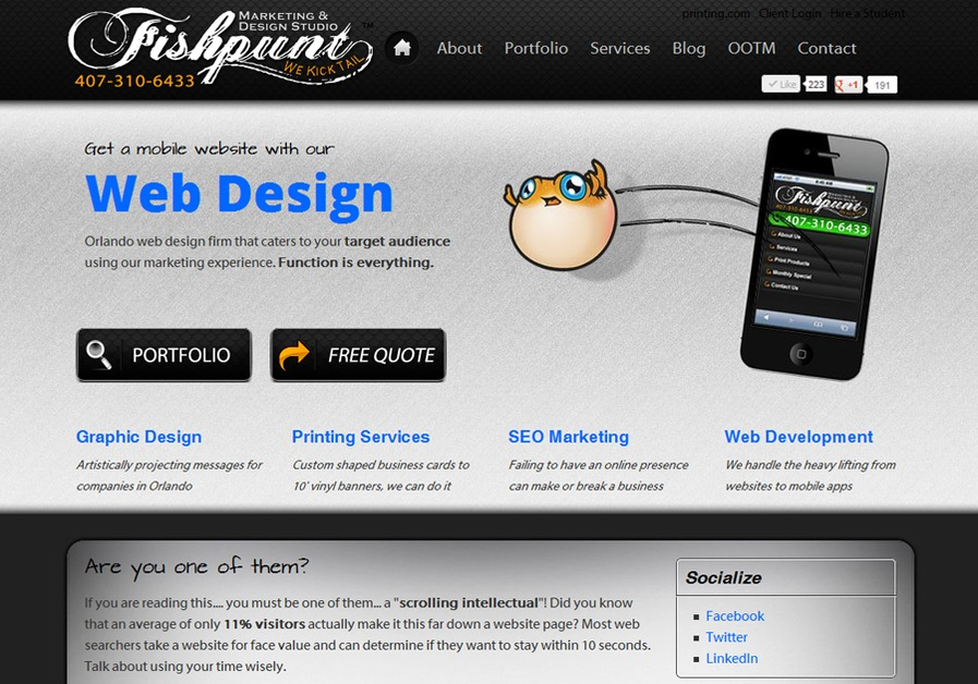 A great web design by Fishpunt Design Studio, Orlando, FL: