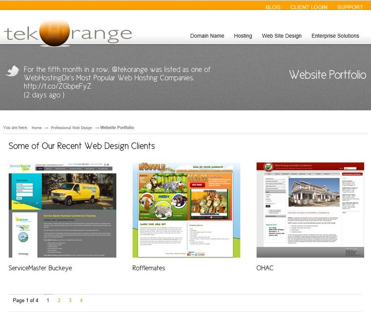 A great web design by tekOrange, Columbus, OH: