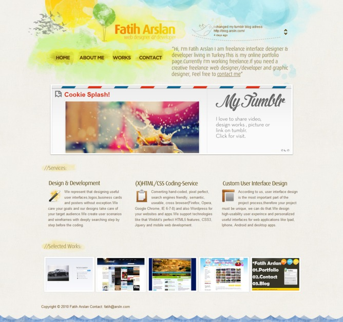 A great web design by Fatih Arslan, Istanbul, Turkey: