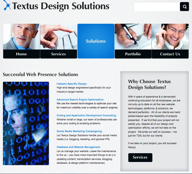 A great web design by Textus Design Solutions, Dallas, TX: