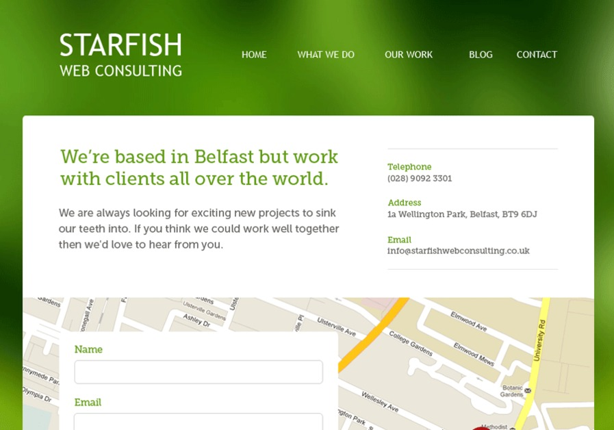 A great web design by Starfish Web Consulting, Belfast, United Kingdom: