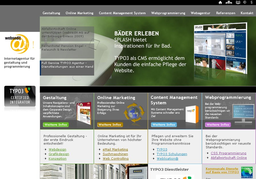 A great web design by websedit AG, Bodensee, Germany: