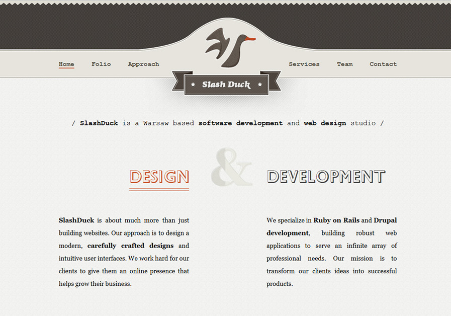A great web design by SlashDuck, Warsaw, Poland:
