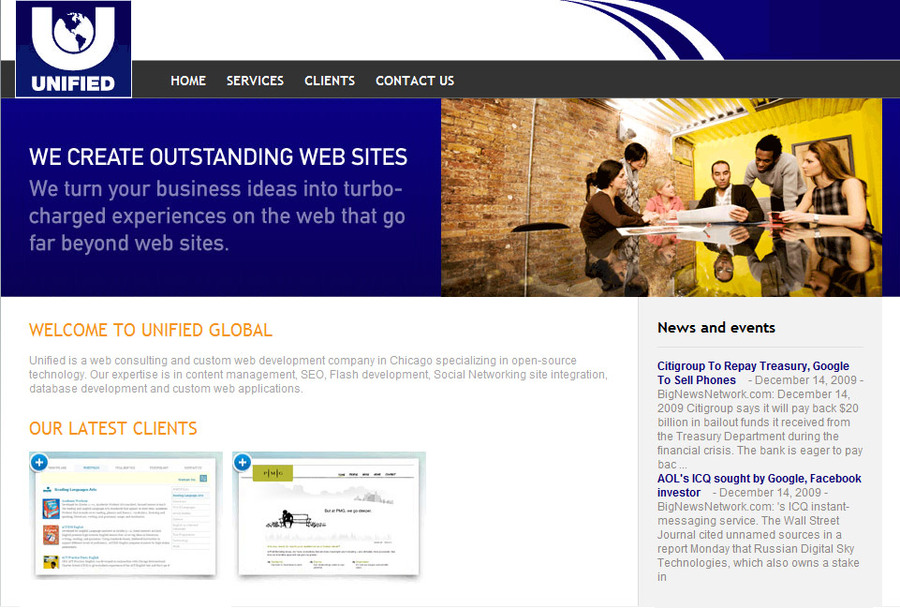 A great web design by Unified Global, Chicago, IL: