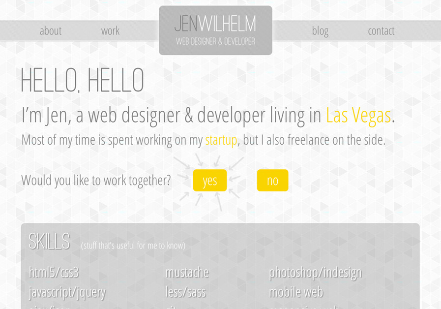 A great web design by Jen Wilhelm, Las Vegas, NV: