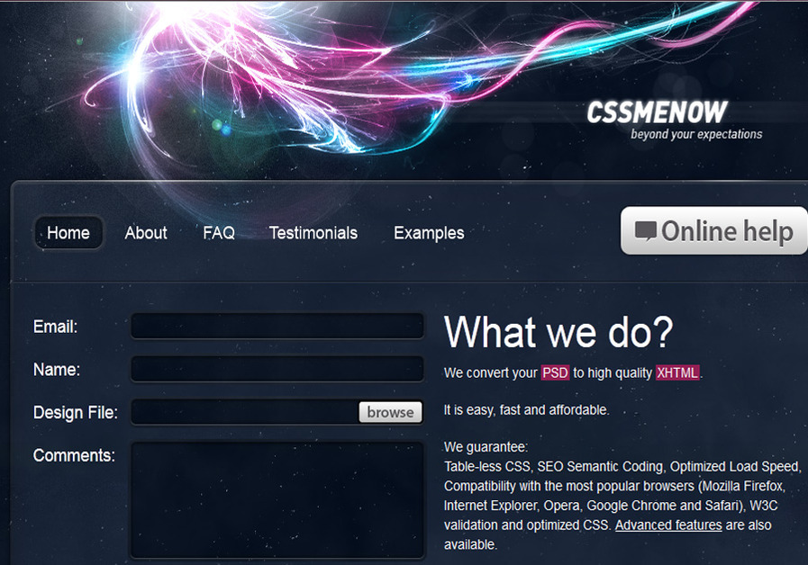 A great web design by CssMeNow - Psd to xHtml conversation service, Kharkov, Ukraine: