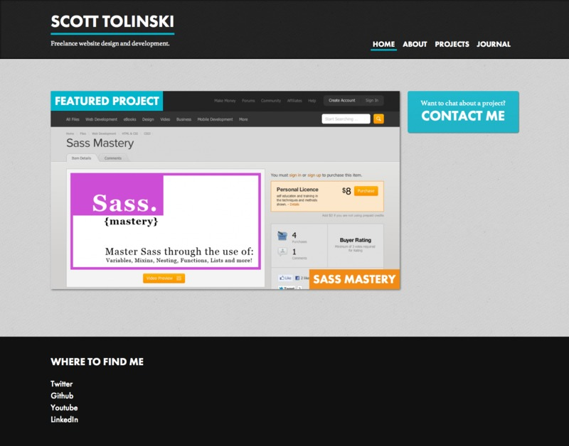 A great web design by Scott Tolinski Creative, Ann Arbor, MI: