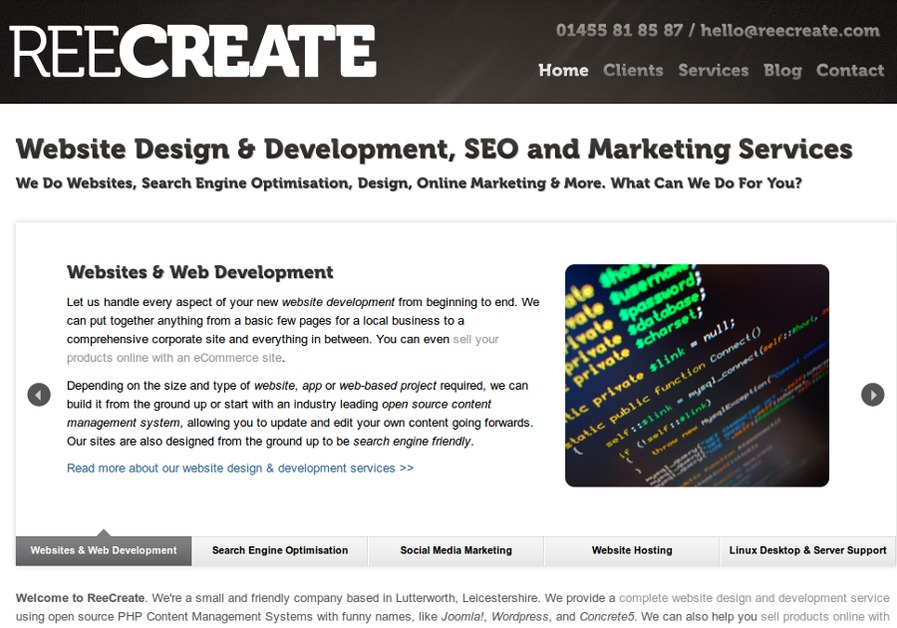 A great web design by ReeCreate, Leicester, United Kingdom:
