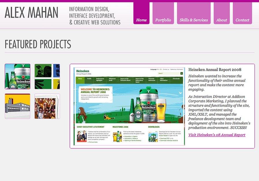 A great web design by Alex Mahan, Portland, OR: