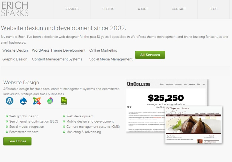A great web design by Erich Sparks, Denver, CO: