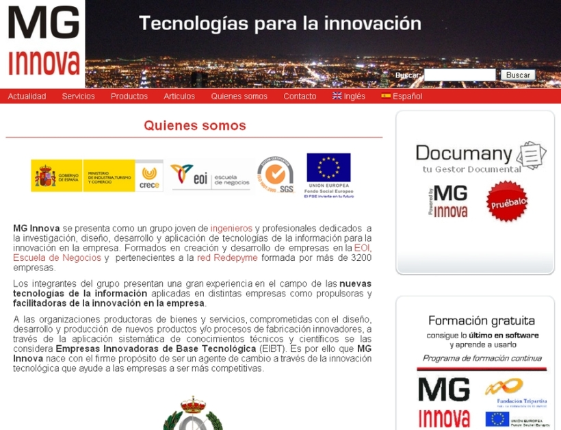 A great web design by MG Innova, Malaga, Spain: