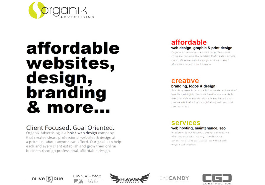 A great web design by Organik Advertising, Boise, ID: