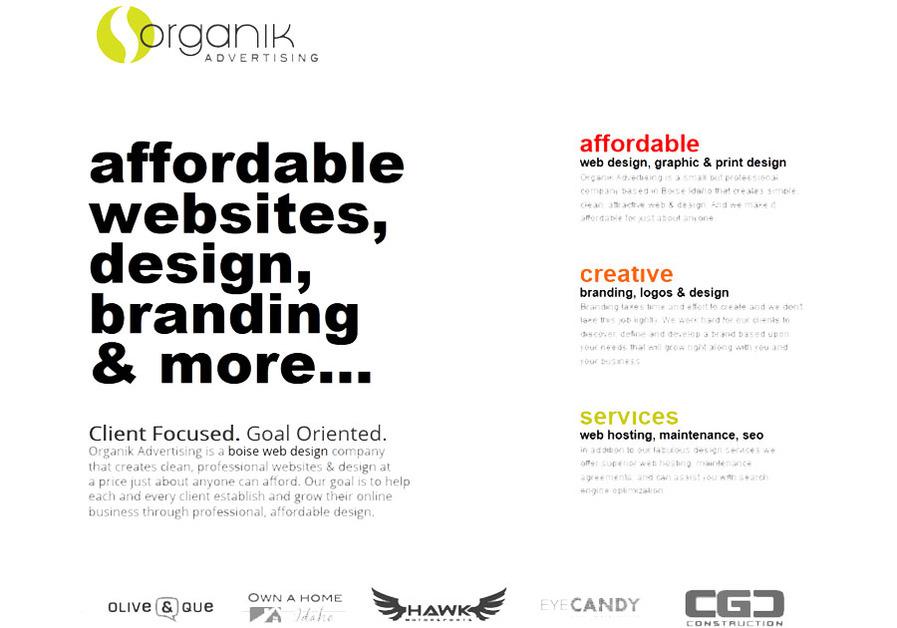 A great web design by Organik Advertising, Boise, ID: