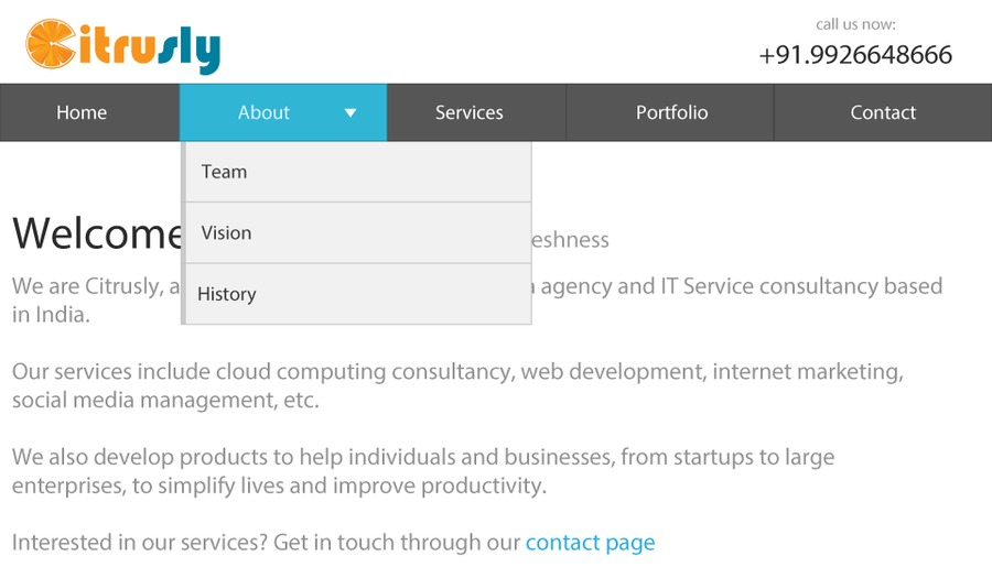 A great web design by Citrusly Media Technology, Indore, India: